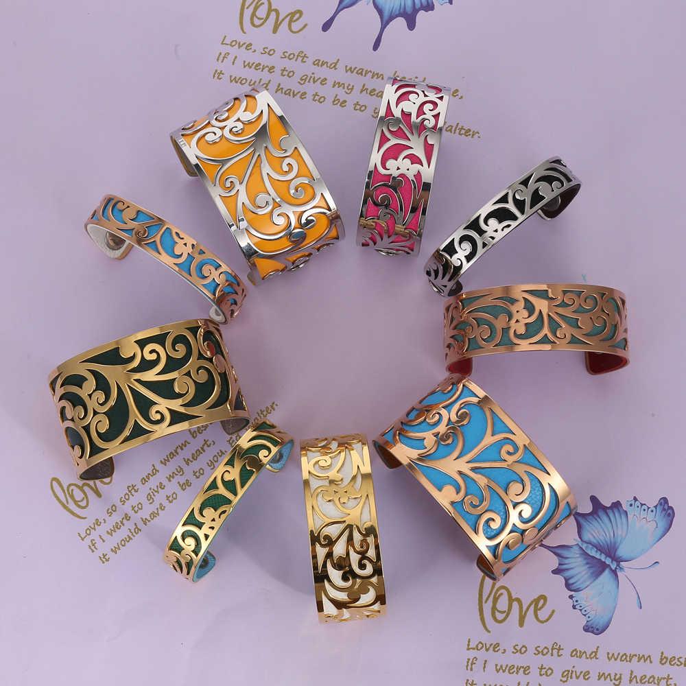 Legenstar srebrny ze stali nierdzewnej stalowa bransoletka kwiat życia bransoletka mankiet dla kobiet dwustronna bransoletka skórzana Party biżuteria