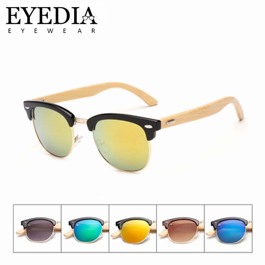2019 Neuestes Design Neue Vintage Mode Pc + Legierung Semi-randlose Sonnenbrille Frauen Angepasst Logo Laser Name Bambus Sonnenbrille Männer Sonnenbrille L1505kp