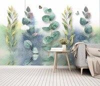 Bacaz Custom 3D Wall Mural Wallpaper Home Decor Green Leaf Nature Landscape 3D Photo Wall Paper For Living Room Bedroom 8d mural