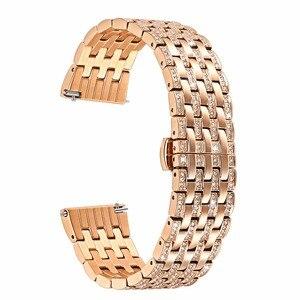 Image 2 - יהלומי רצועת השעון לסמסונג גלקסי שעון 42mm 46mm פעיל 2 40mm 44mm להקת נירוסטה רצועה נשים גברים תכשיטי צמיד