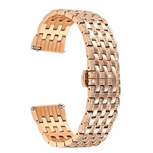 Image 2 - Diamond Watchband for Samsung Galaxy Watch 42mm 46mm Active 2 40mm 44mm Band Stainless Steel Strap Women Men Jewelry Bracelet