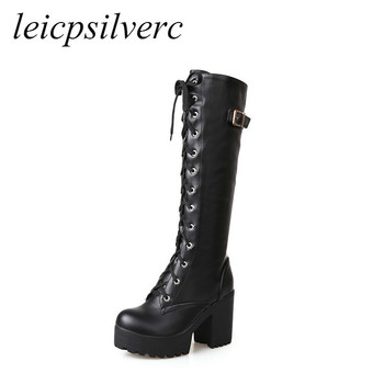 Women Boots High Heels Shoes Autumn Winter Warm 2019 Sexy New Fashion Lace-up Pu Knee High Motorcycle Boot Platform Black White