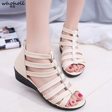 WHOHOLL Women Sandals 2019 Summer Wedges Shoes Woman Gladiator Style Sandal Cut-out Style Mid Heel Female Casual Platform Shoes summer women sandal causal string beads gladiator platform wedges low heel wedges casual single shoes soft slippers baok 801