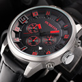 OCHSTIN Brand New Fashion Casual Man Male Chronograph Clock Military Army Sport Leater Strap Luxury Wrist Quartz Watch GQ049