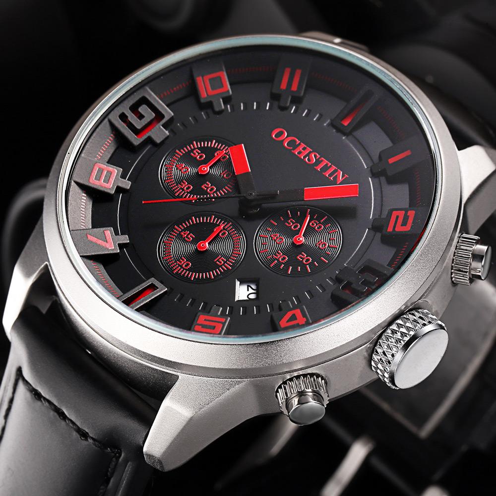 Prix pour Ochstin marque nouvelle mode casual homme mâle chronographe horloge militaire armée sport leater sangle de luxe poignet quartz montre gq049