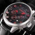 Ochstin nueva marca de moda de hombre casual hombres leater correa reloj militar del ejército del deporte del cronógrafo de pulsera de lujo reloj de cuarzo gq049