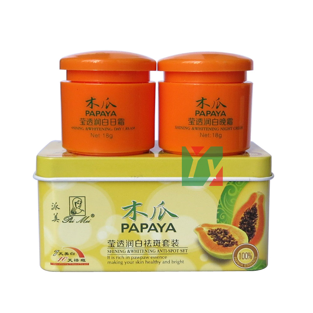 PAIMEI papaya 7days shining és whitening 10days spot spot + éjszakai krém 2db / készlet
