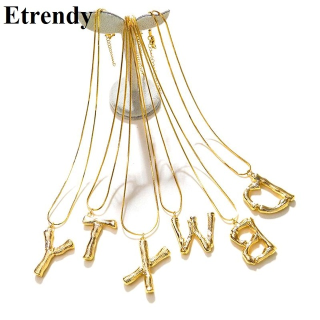 2018 new big letter necklace women statement gold color alphabet long necklace trendy jewelry best friend