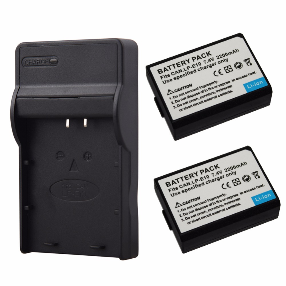 2PCS 2200mAh LP E10 LP E10 LPE10 Digital Camera Battery USB Charger for Canon 1100D 1200D