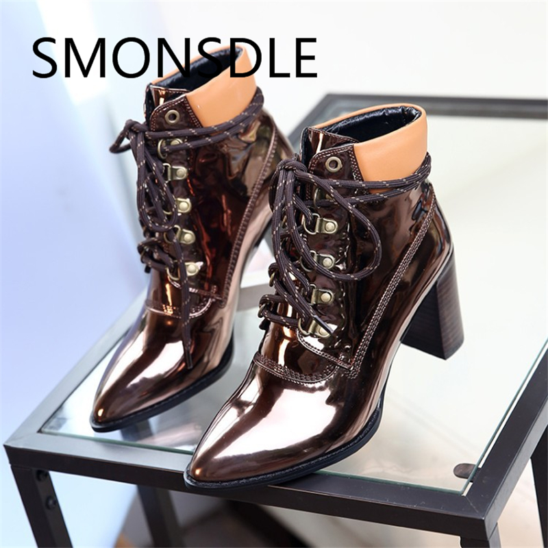 все цены на New Spring Antumn Mirror Genuine Leather Martin Boots Pointed Toe Lace Up Women Ankle Boots Square Thin High Heels Shoes Woman онлайн