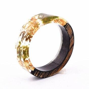 Handmade Flowers Wood Resin Ring32