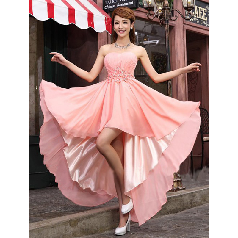 2016 rosa elegante De la gasa hasta la rodilla dama De honor ...