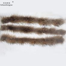 Linhaoshengyue50 см, натуральный мех енота, Детский капюшон, воротник, высокое качество, мех енота, модное пальто, воротник, шапка, воротник