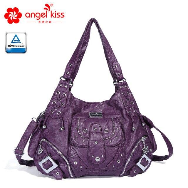 20f7759e59aa Angelkiss New Women Hobo Shoulder Crossbody Bag Soft PU Leather Zipper Women  Handbag Elegant Ladies Messenger Purse Satchel