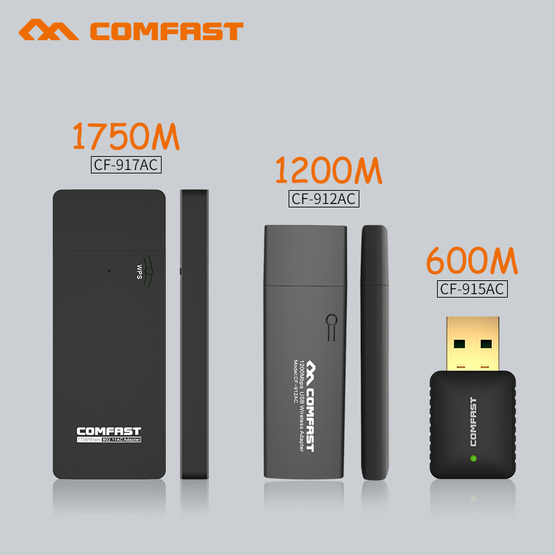 AC 600M&1750M&1200M Usb Wireless Network Card 802.11AC Dual Band 2.4G/5Ghz USB WIFI Adapter Receiver Dongle Soft AP WI-FI Router