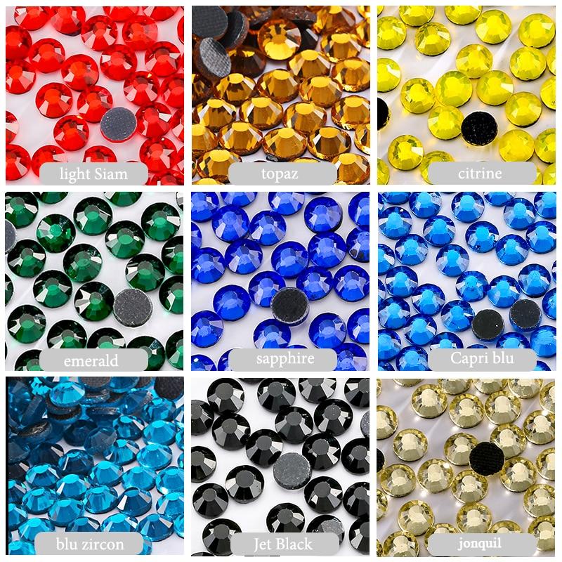 גבישי אבן קריסטל כל גודל כל צבע זכוכית אבני חן תפירה אביזרים דבק תיקון חם Hinestones