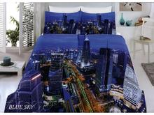 Комплект постельного белья двуспальный-евро VIRGINIA SECRET, Bamboo, синий, 3D