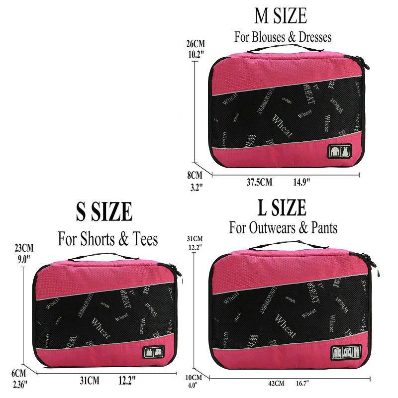 Soperwillton упаковочные кубики, нейлоновая дорожная сумка-Органайзер, Воздухопроницаемая сетчатая дорожная сумка для мужчин и женщин, органайзер для путешествий - Цвет: Rose S-M-L