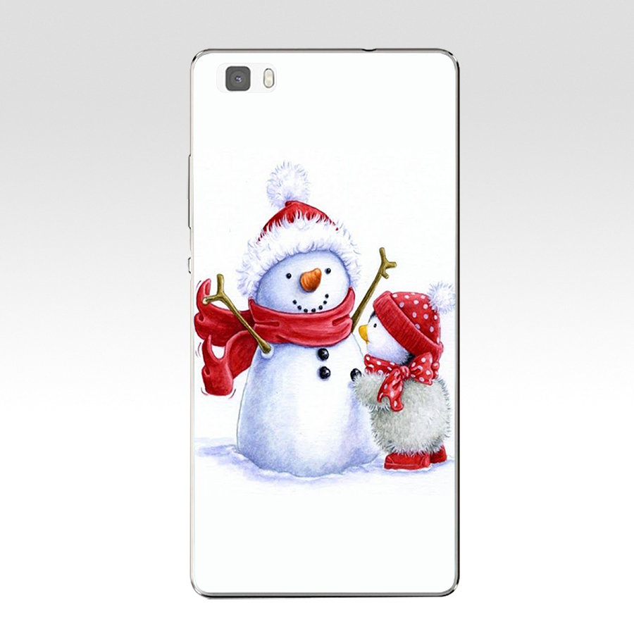 Christmas Snowman Craft Hard Transparent Cover For Huawei P8 P8 P9 P10 Lite Y5 Ii Honor 4C 5C 7 8 &Amp; Nova