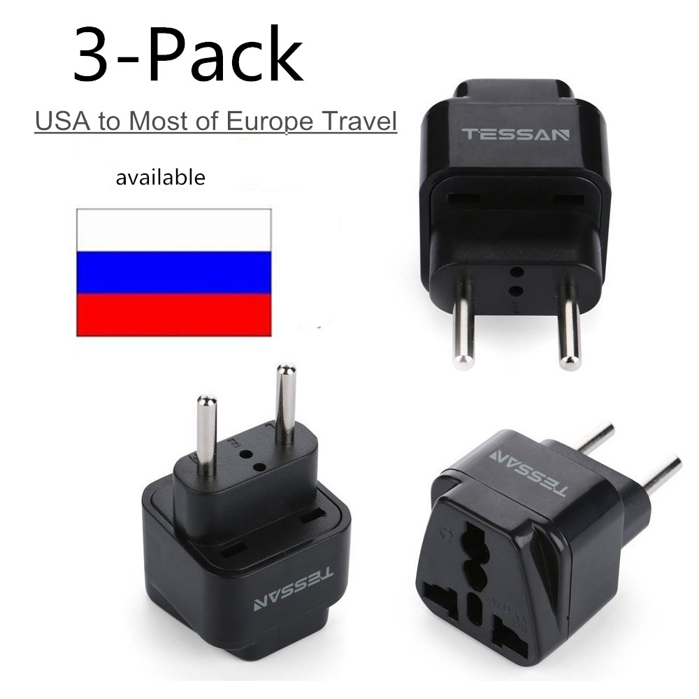 TESSAN Universal Outlet UNS Zu EU Reise Stecker Adapter Die meisten von Europa Reise Prong Adapter Stecker Kit 3 paket UNS ZU EU