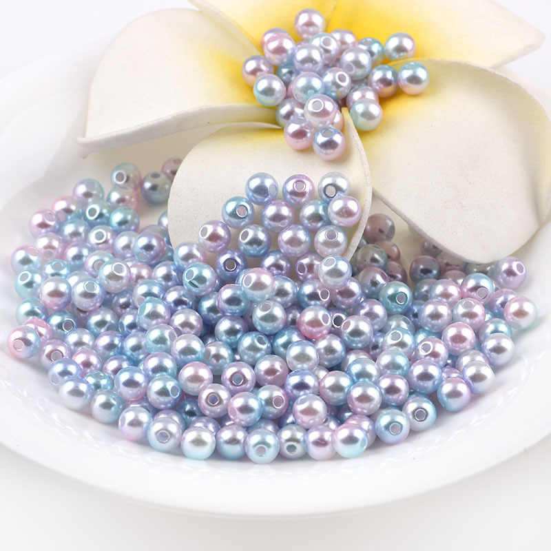 Multi option Mixed 4/6/8/10/12mm Round Imitation Rainbow Color Plastic ABS Pearl  beads  For Garment Bags shoes