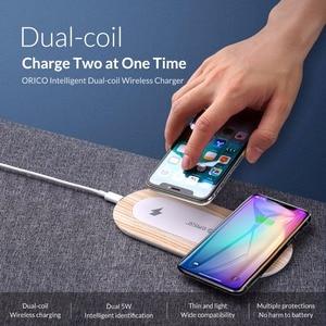 Image 2 - ORICO 10W הכפול מטען אלחוטי Qi טעינה מהירה כרית תואם עבור iPhone 11 פרו Xs מקסימום X Xr 8 אינדוקציה מהיר אלחוטי טעינה