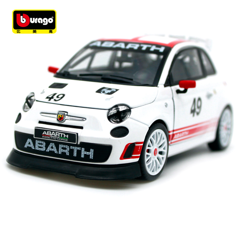 Bburago 1:24 Fiat ABARTH 500 Assetto Corse 49# White Track Car Sports Car Diecast Model Car Toy New In Box Free Shipping 28101