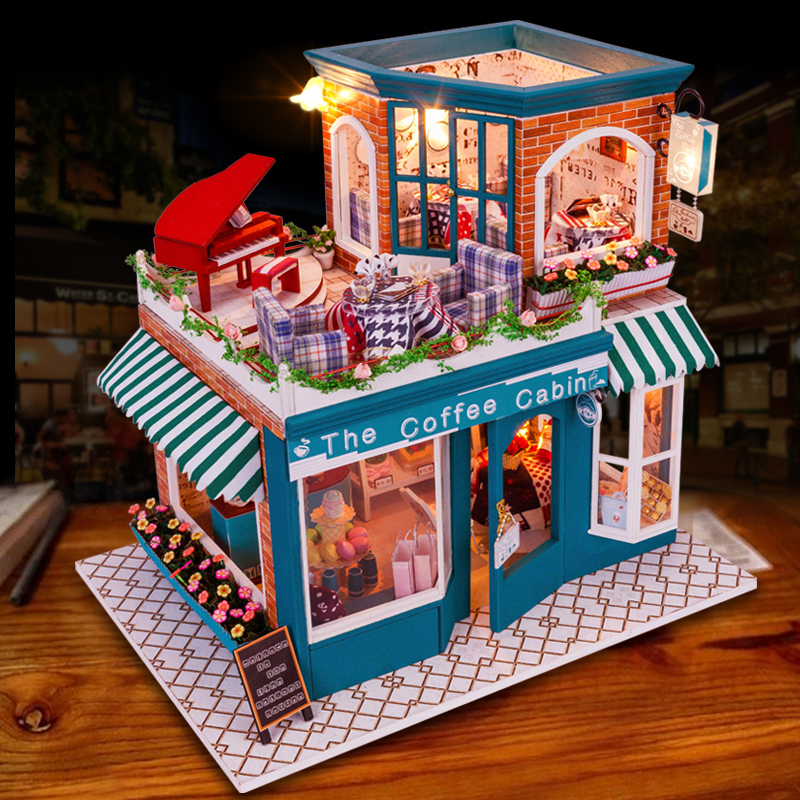 ФОТО Hand-made DIY wooden doll house  the coffee cabin assembled miniature dollhouse furniture Creative gifts birthday gift