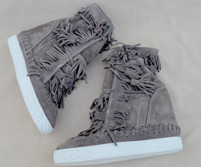 Hot selling Suede Fringed High Top wedge woman shoes round toe height increasing lace up tassel boots ankle boots 2017 big size недорго, оригинальная цена