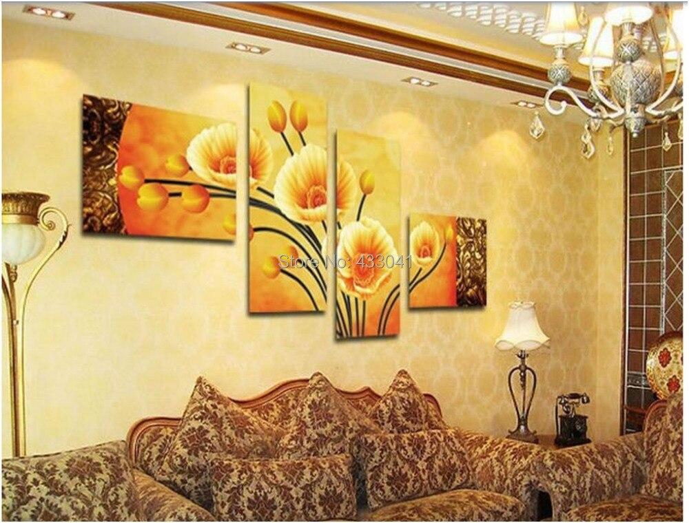 Dipinto a mano 4 pezzo fiori decorativi pittura a olio su for Quadri a parete