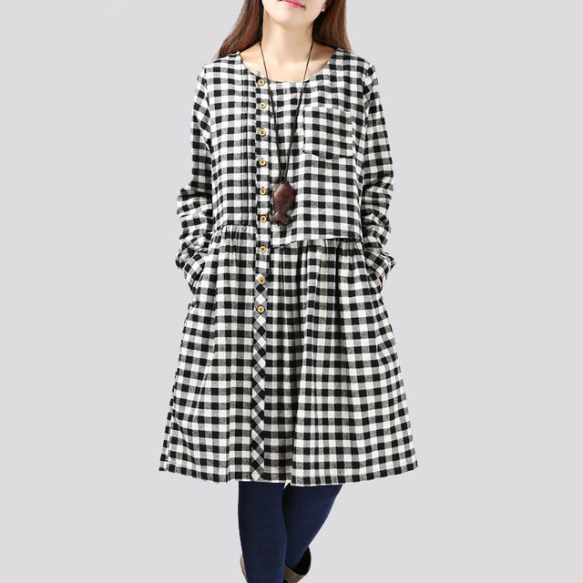 Plaid Shirt Dress O-neck Long Sleeve Muslim Robes Checked Green Black Red  Autumn Winter Pregnant Women Dress Maternity Vestidos 36fea3676e