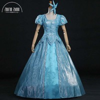 Top Quality 2017 New Arrival The Little Mermaid Ariel Princess Cosplay Costume Blue Dress For Halloween