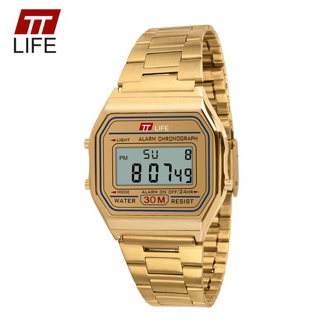 TTLIFE Stainless Steel Army Military Clock Waterproof Gold Watch Men Women Fashion LED Digital Ladies Watches WristWatches
