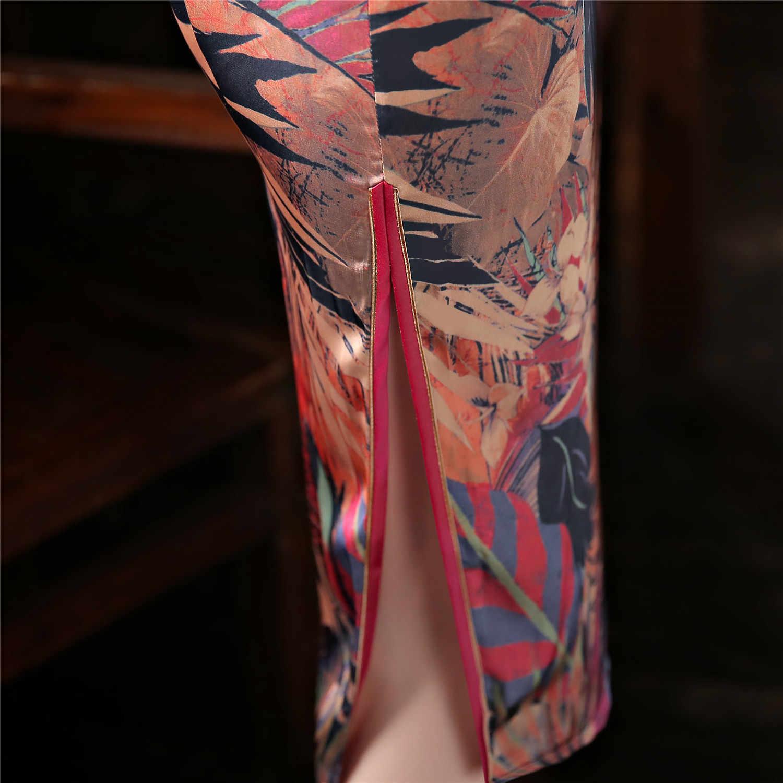 上海ストーリー二重層ロング袍フェイクシルク中国の伝統的な東洋のドレス中国女性のチャイナ
