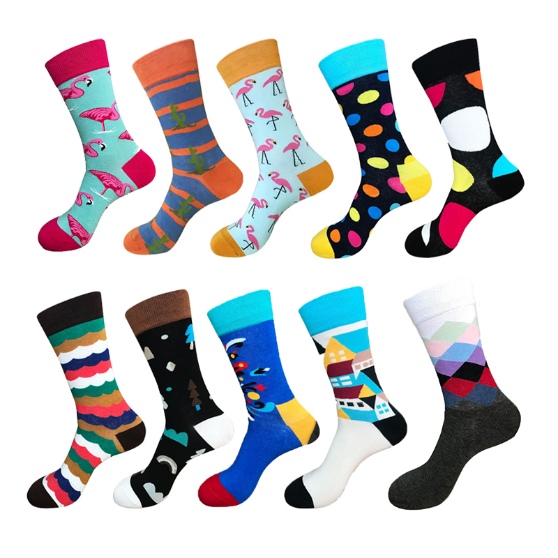 Brand Quality Mens Happy Socks 13 Colors Striped Plaid Diamond Cherry Funny Socks Men Combed Cotton Calcetines Largos Hombre