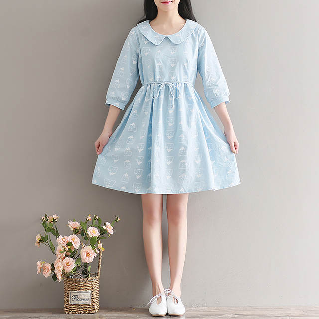 8263c16e564ba US $20.15 30% OFF|2017 Summer Printed Cotton Linen Dress Women Preppy Style  Light Blue Dresses Cute Peter Pan Collar A line Dresses-in Dresses from ...