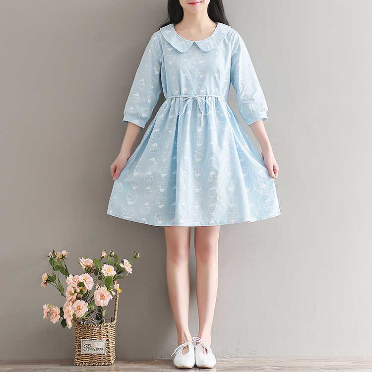 36af4e3819 ... 2017 Summer Printed Cotton Linen Dress Women Preppy Style Light Blue  Dresses Cute Peter Pan Collar ...