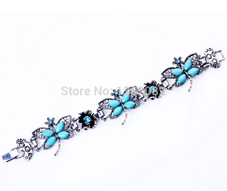 Tibetan Style Women S Stone Erfly Bracelet Crystal Flower Bracelets Charm Dragonfly Gift Mb26 In From Jewelry Accessories On