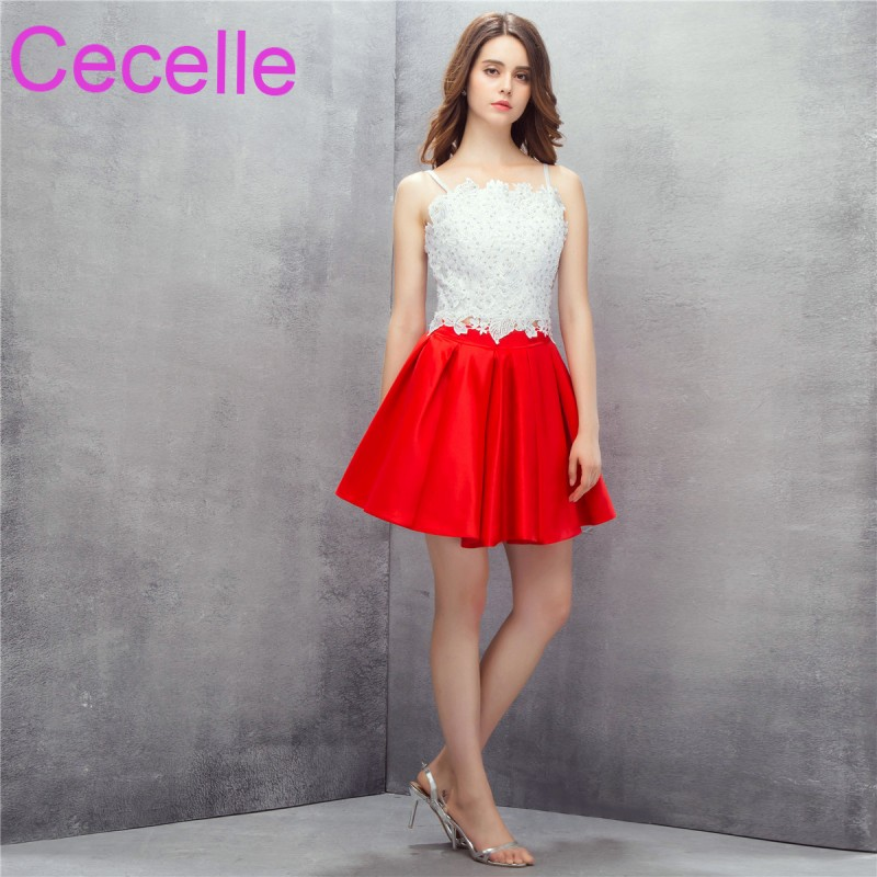 Red White Satin 2 Pieces Short   Cocktail     Dresses   2019 Halter Bead Lace Top Cute Satin Skirt Juniors Informal Short Prom   Dress