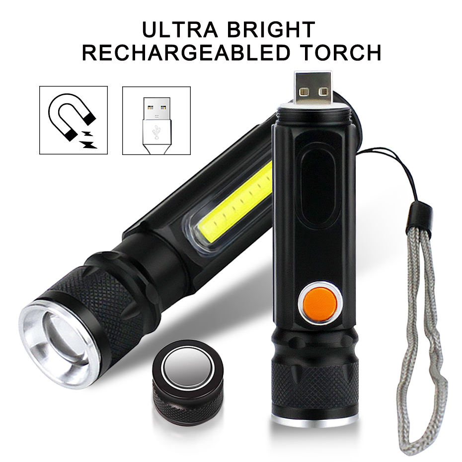 Zoom USB Rechargeable Led Flashlight XML-T6+COB High Lumen Brightest Mini Magnetic Keychain Flashlight For Camping Bicycling