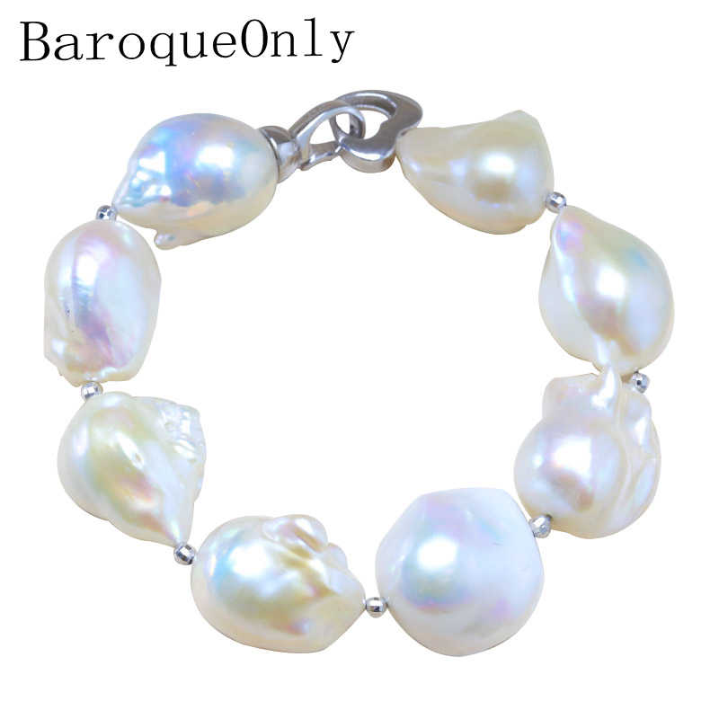 BaroqueOnly S925 Sterling Silver 100% Natural White Baroque Big 15-25mm Pearl Bracelet Fashion Jewelry for Women HL