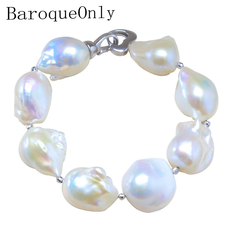 BaroqueOnly S925 Sterling Silver 100% Natural White Baroque Big 15-25mm Pearl Bracelet Fashion Jewelry for Women HL baroqueonly s925 sterling silver 100% natural white baroque big 15 25mm pearl bracelet fashion jewelry for women hl
