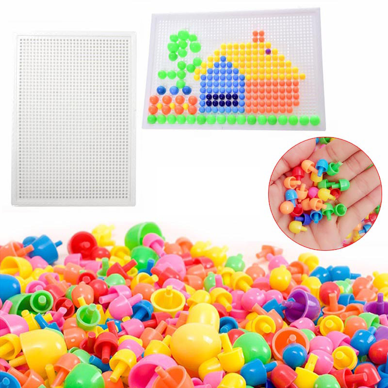 Hot Selling 320 Pcs Mosaic Peg Board Jigsaw Puzzle Mushroom Nails Peg Puzzles Educational Toys For Kids