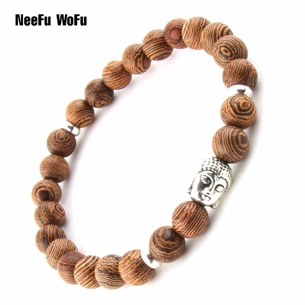 Bracelets Bangles Wooden beads bracelet Men Raw ore Natural stone Buddha Lava Balancing Beacon Bodhisattva