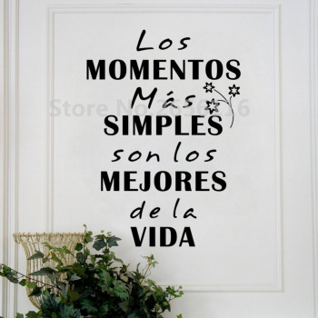 Spanish Quotes Mural Stickers Los Momentos Mas Simples Vinyl Wall Decals for Home Decor
