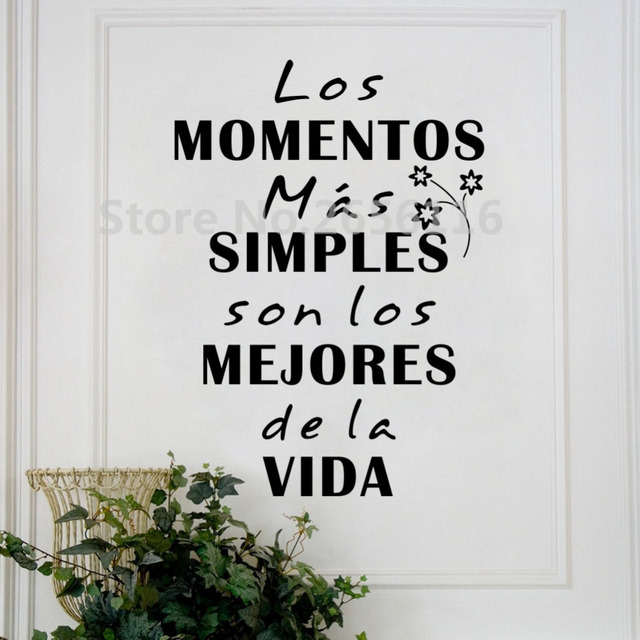 Spanish Quotes Spanish Quote Los Momentos Mas Simples Vinyl Wall Decal Free  Spanish Quotes