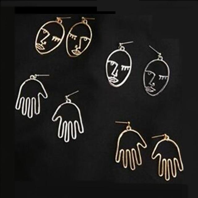E0281 New Arrival Figure Face Hoop Earrings For Women Girls Fashion Gold Silver