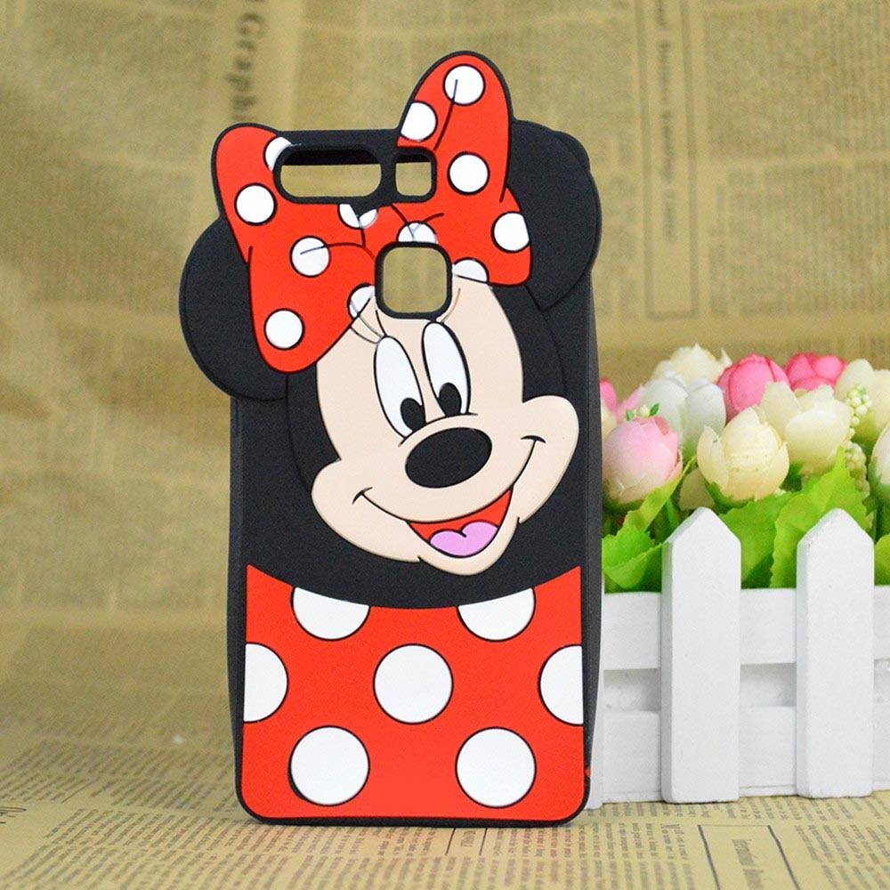 For Huawei P9 Lite G9 lite Cute 3D Cartoon Minnie Mickey Mouse Silicone Case Cover Minions capa funda hood