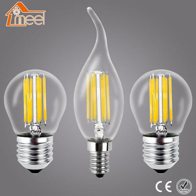Meel Retro Lâmpada LED E27 E14 CONDUZIU a Lâmpada 220 V 240 V LEVOU Filamento luz 2 W 4 W 6 W 8 W Bombillas LED Edison Lâmpada Bola De Vidro Luz