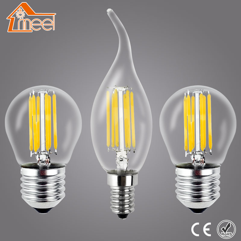 Meel Retro LED Bulb E27 E14 LED Lamp 220V 240V LED Filament Light 2W 4W 6W 8W Glass Ball Bombillas LED Edison Bulb Light retro lamp st64 vintage led edison e27 led bulb lamp 110 v 220 v 4 w filament glass lamp